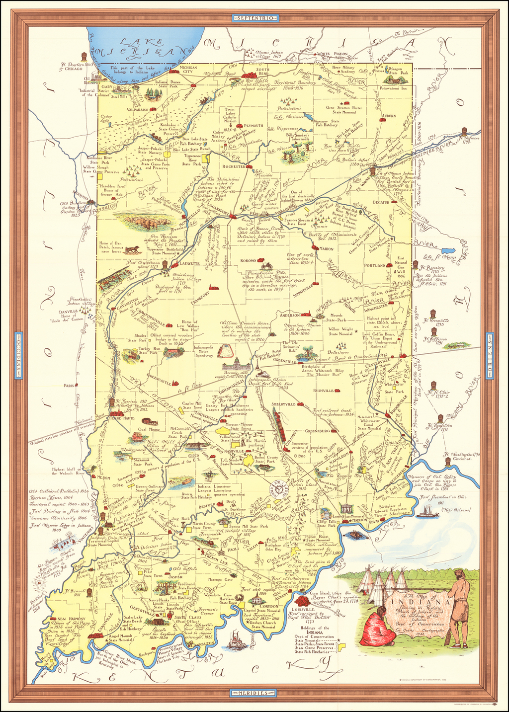 A Map of Indiana Showing its History, Points of Interest, and the holdings of the Indiana Dept. of Conservation.  Lee Carter Cartographer 1932. By Lee Carter