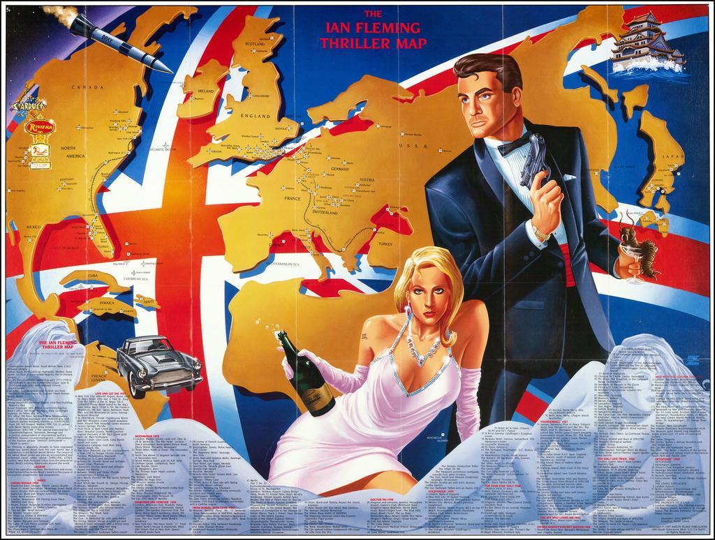 (James Bond)  Ian Fleming Thriller Map By John Zeleznik