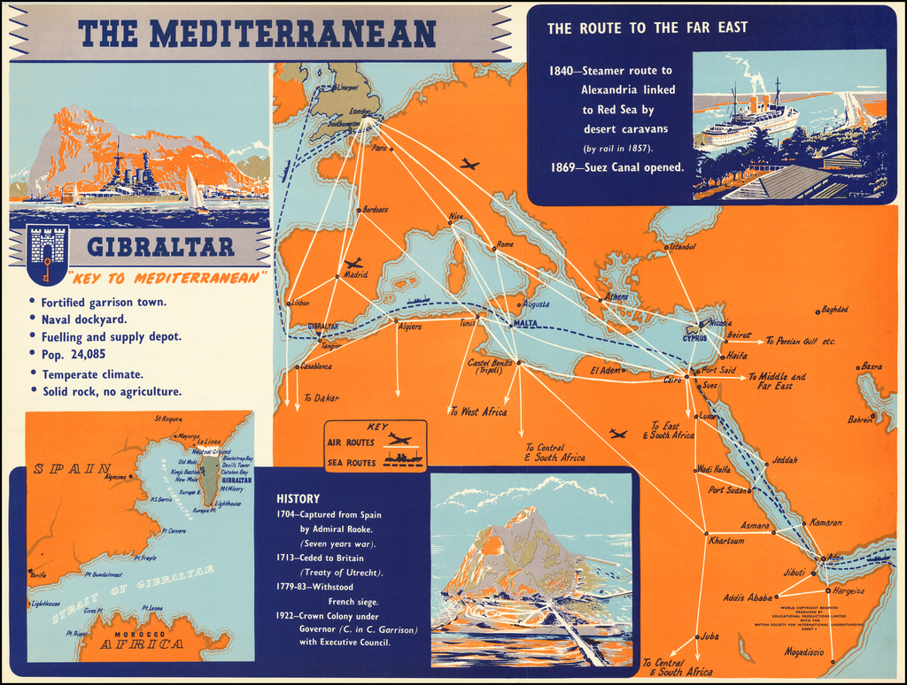 """The Mediterranean / Gibraltar """"Key To the Mediterranean"""" By British Society For International Understanding"""