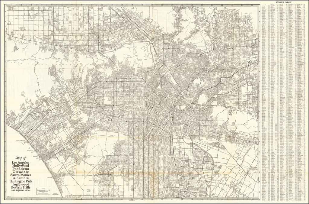 Map of Los Angeles Hollywood Pasadena Glendale Santa Monica Alhambra Huntington Park Ingelwood Beverly Hills and adjacent cities [and] Motor Map of Southern California By Security-First National Bank of Los Angeles