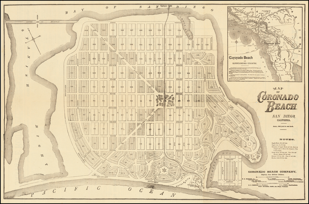 Map of Coronado Beach San Diego, California  /  Coronado Beach and Surrounding Country By Rand McNally & Company