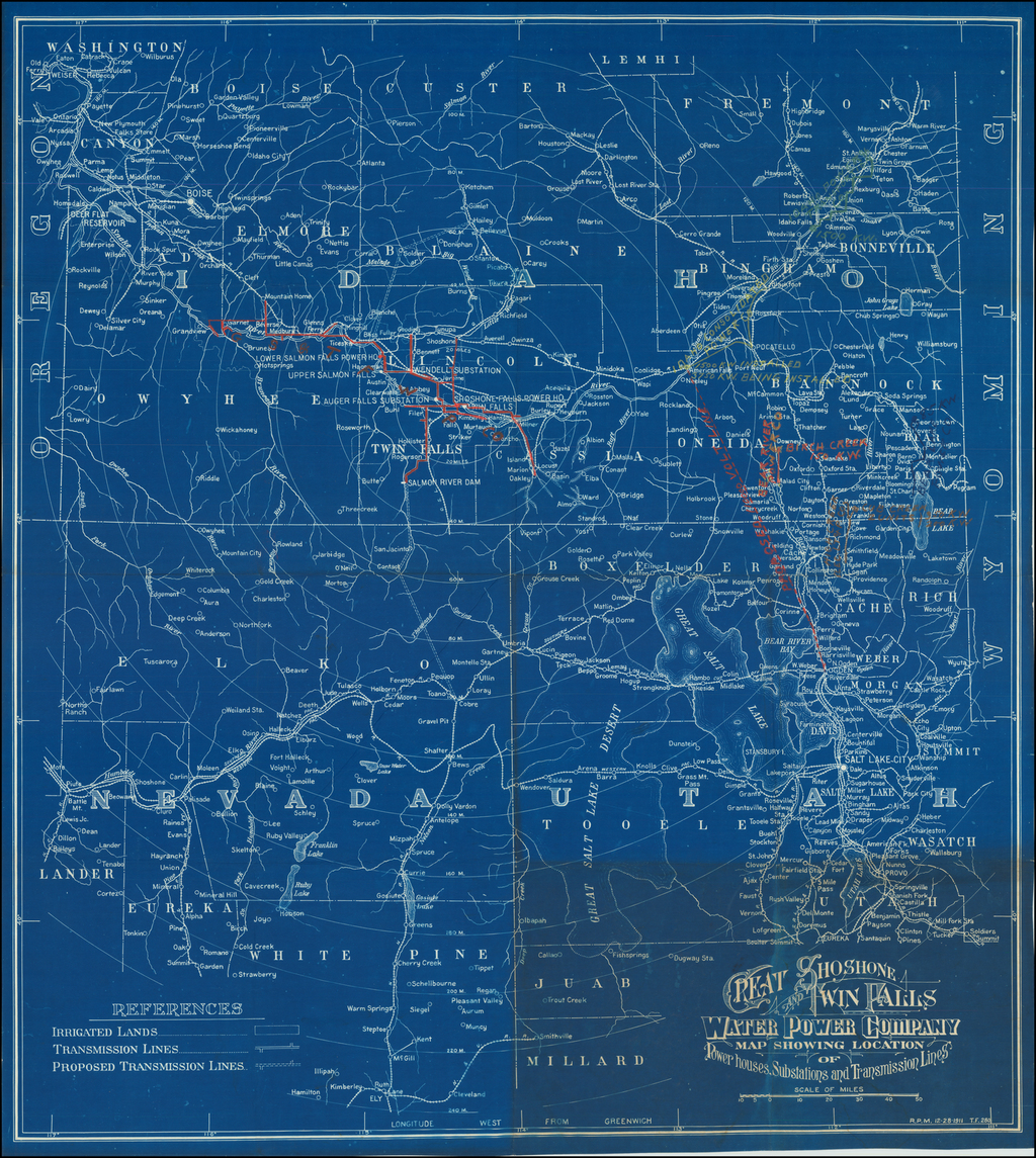 [Heavily Annotated]  Great Shoshone and Twin Falls Water Power Company Map Showing Location of Power houses, Substations and Transmission Lines By Great Shoshone and Twin Falls Water Power Company