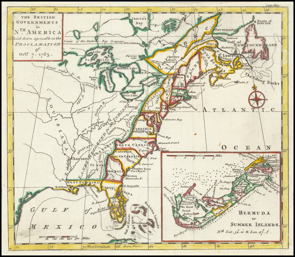 The British Governments in Nth America Laid down agreeable to the Proclamation of Octr. 7, 1763  [Large Bermuda Inset] By Gentleman's Magazine