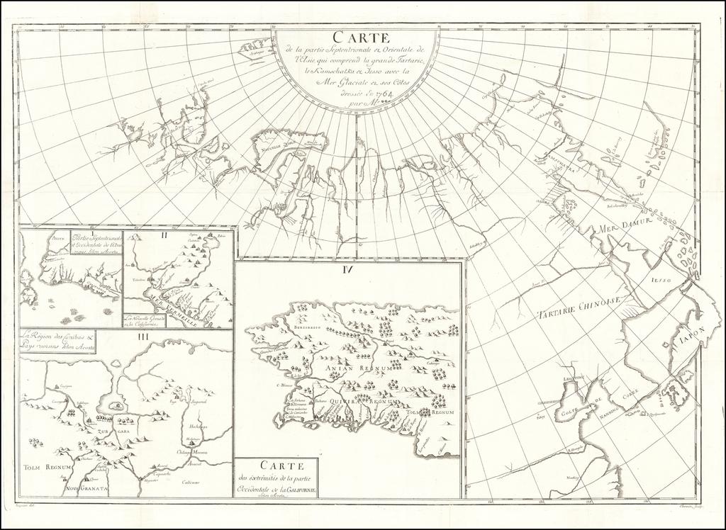 Carte de la partie Septentrionale et Orientale de l'Asie qui comprend la grande Tartarie, le Kamschatka et Iesso avec la Mer Glaciale et ses Cotes dressés en 1764 par M. By Samuel Engel