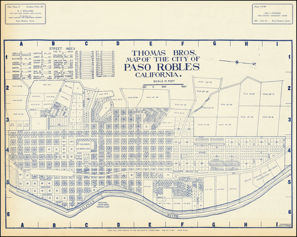 Thomas Bros. Map of the City of Paso Robles California By Thomas Brothers