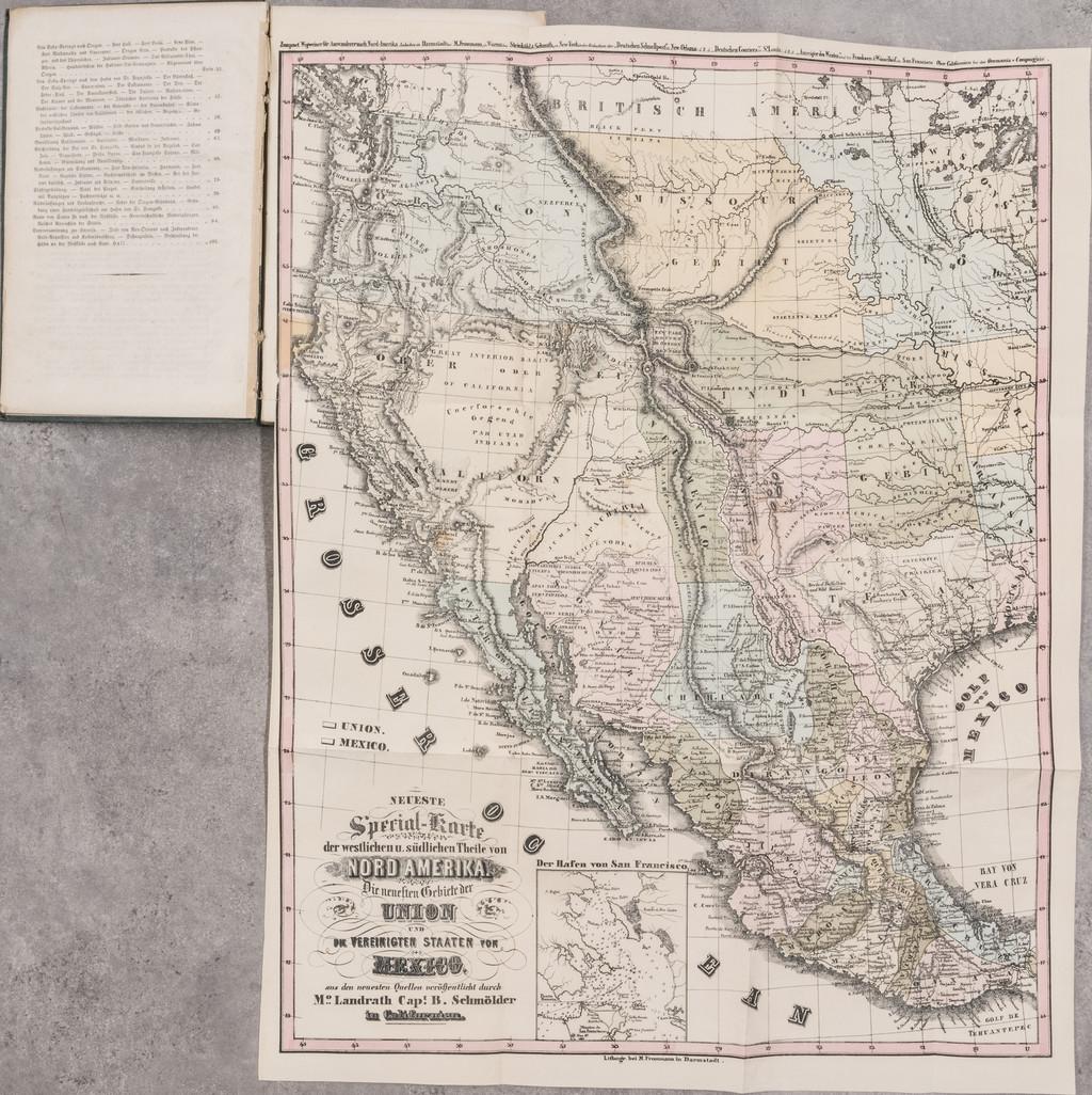 Neuer praktischer Wegweiser fur Auswanderer nach Nord-Amerika in drei Abtheilungen mit karten, planen und Ansichten . . . By Bruno Schmolder