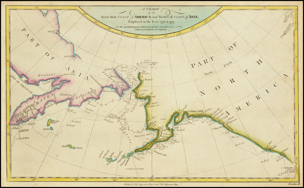 A Chart of the Northwest Coast of America and North East Coast of Asia, Explored in the Years 1778 & 1779 By James Cook