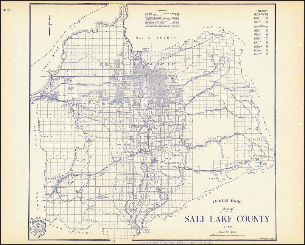 Thomas Bros. Map of Salt Lake County Utah  By Thomas Brothers