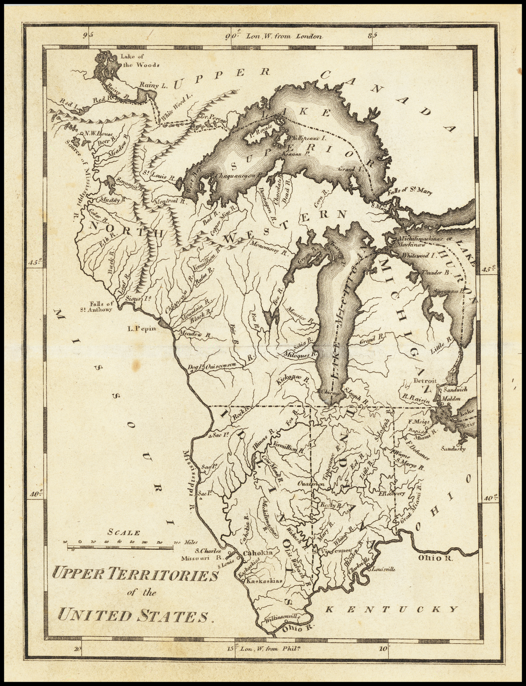 Upper Territories of the United States By Mathew Carey