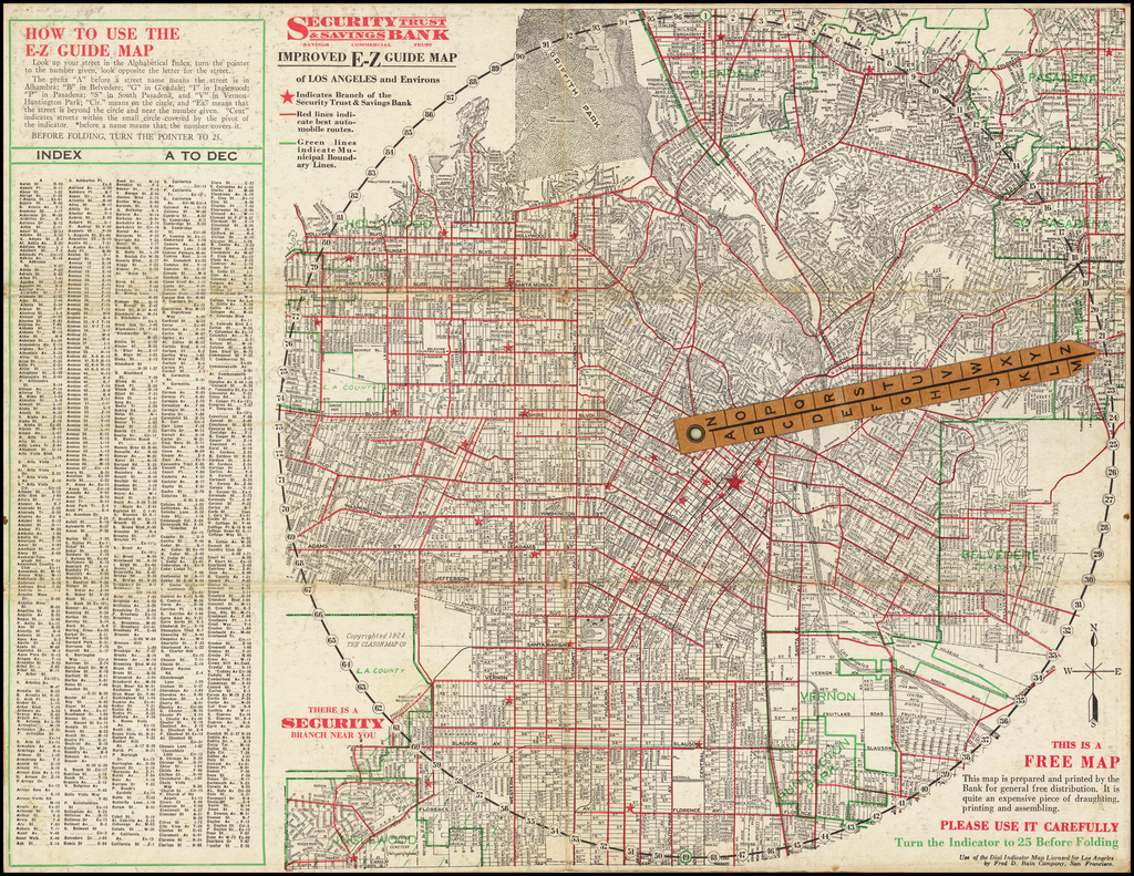 Improved E-Z Guide Map of Los Angeles By George Clason