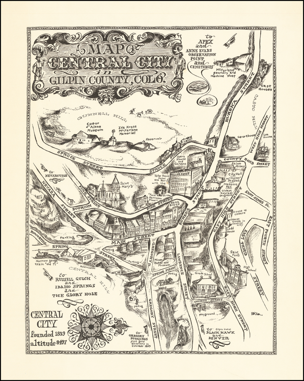 A Map of Central City in Gilpin County, Colo. By Barbara Remington