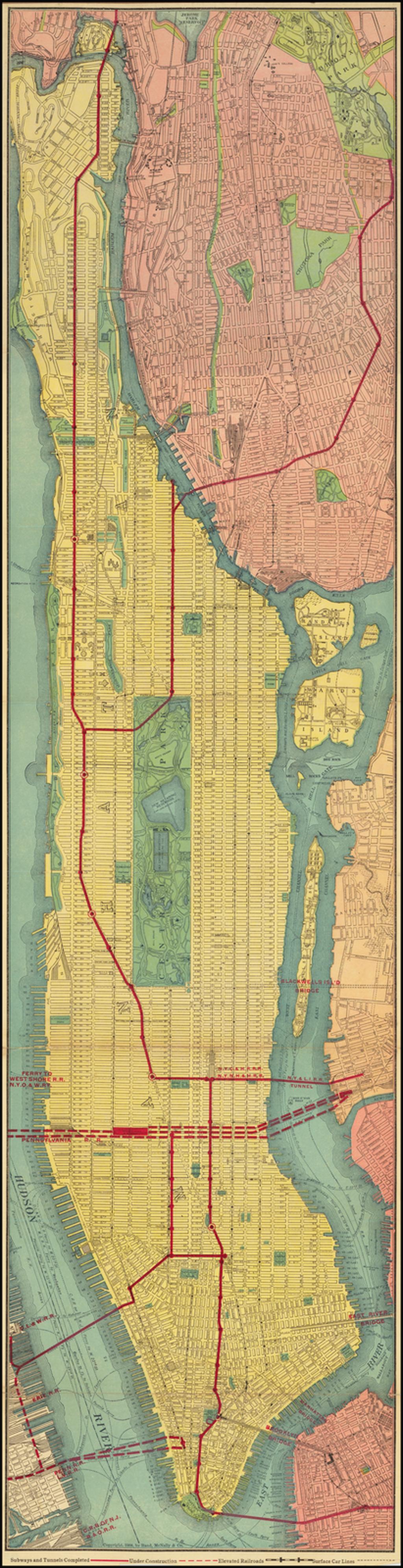 Rand McNally Map of the Borough of Manhattan By Rand McNally & Company