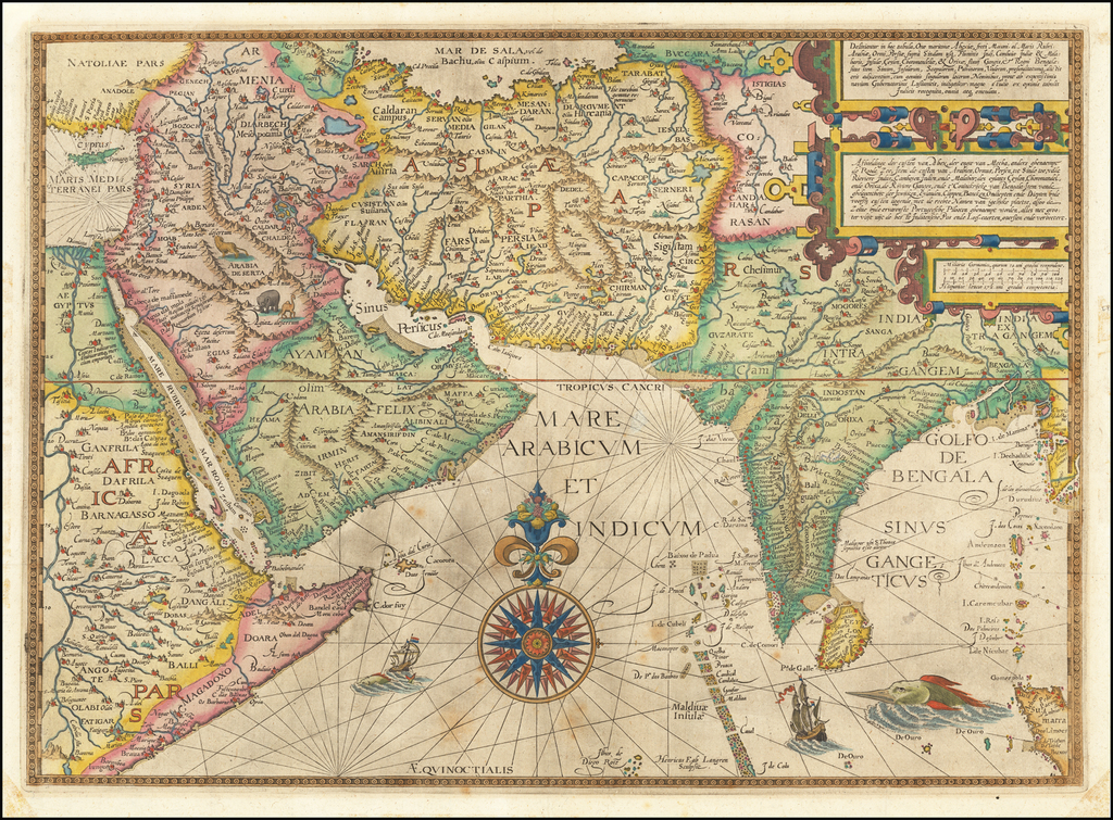 Indian Ocean, India, Central Asia & Caucasus, Middle East and Arabian Peninsula Map By Jan Huygen Van Linschoten