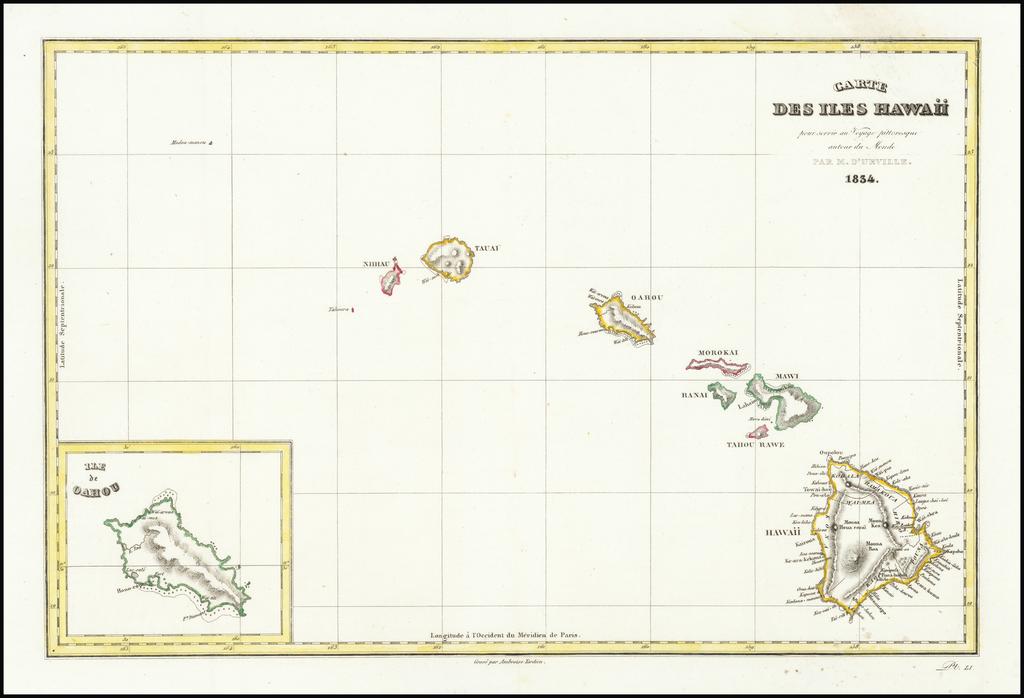 Hawaii and Hawaii Map By Jules Sebastian Cesar Dumont-D'Urville