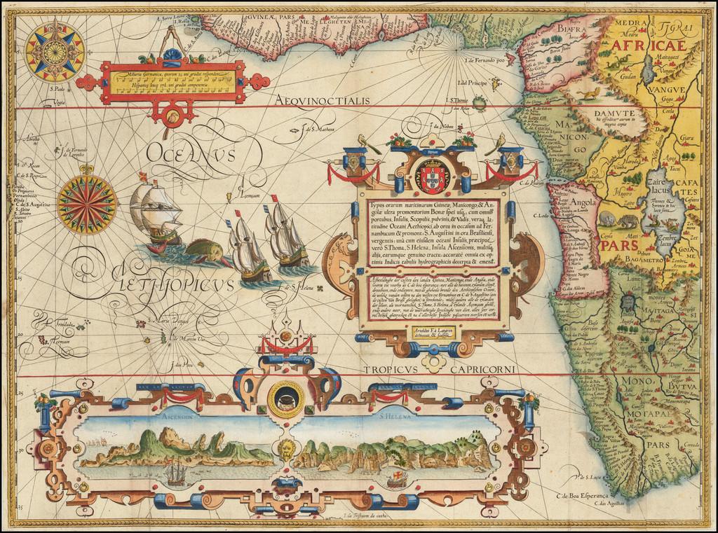 Atlantic Ocean, South Africa and West Africa Map By Jan Huygen Van Linschoten