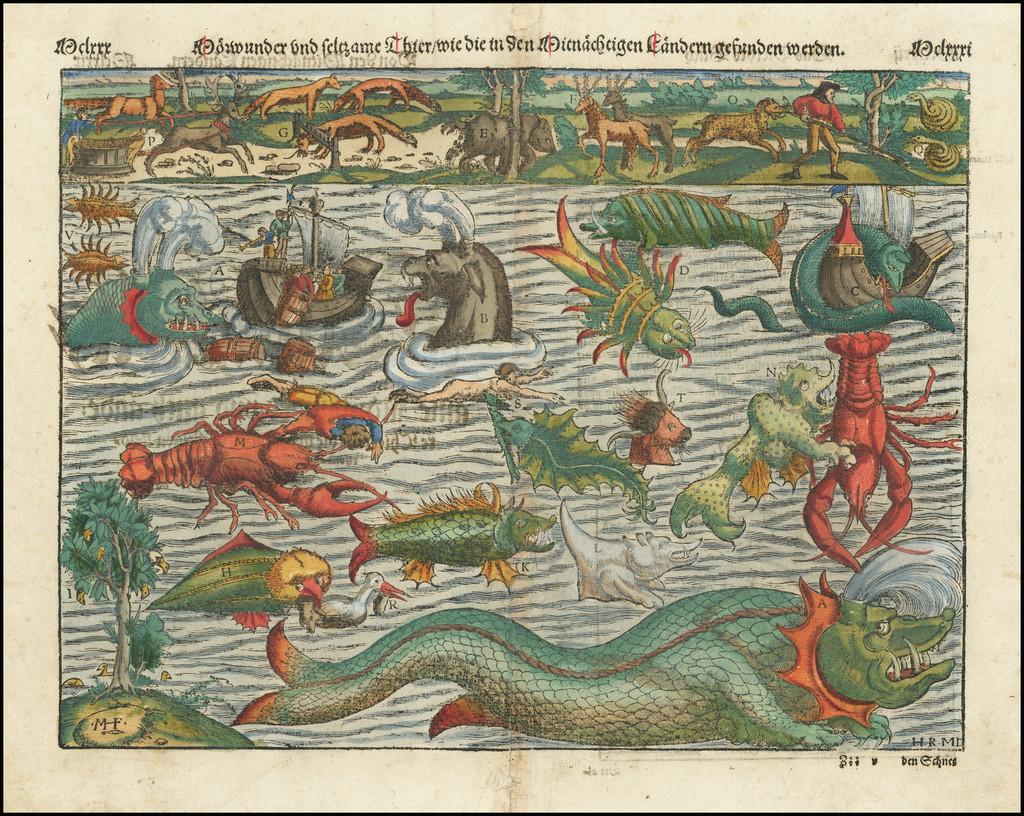 Curiosities Map By Sebastian Munster