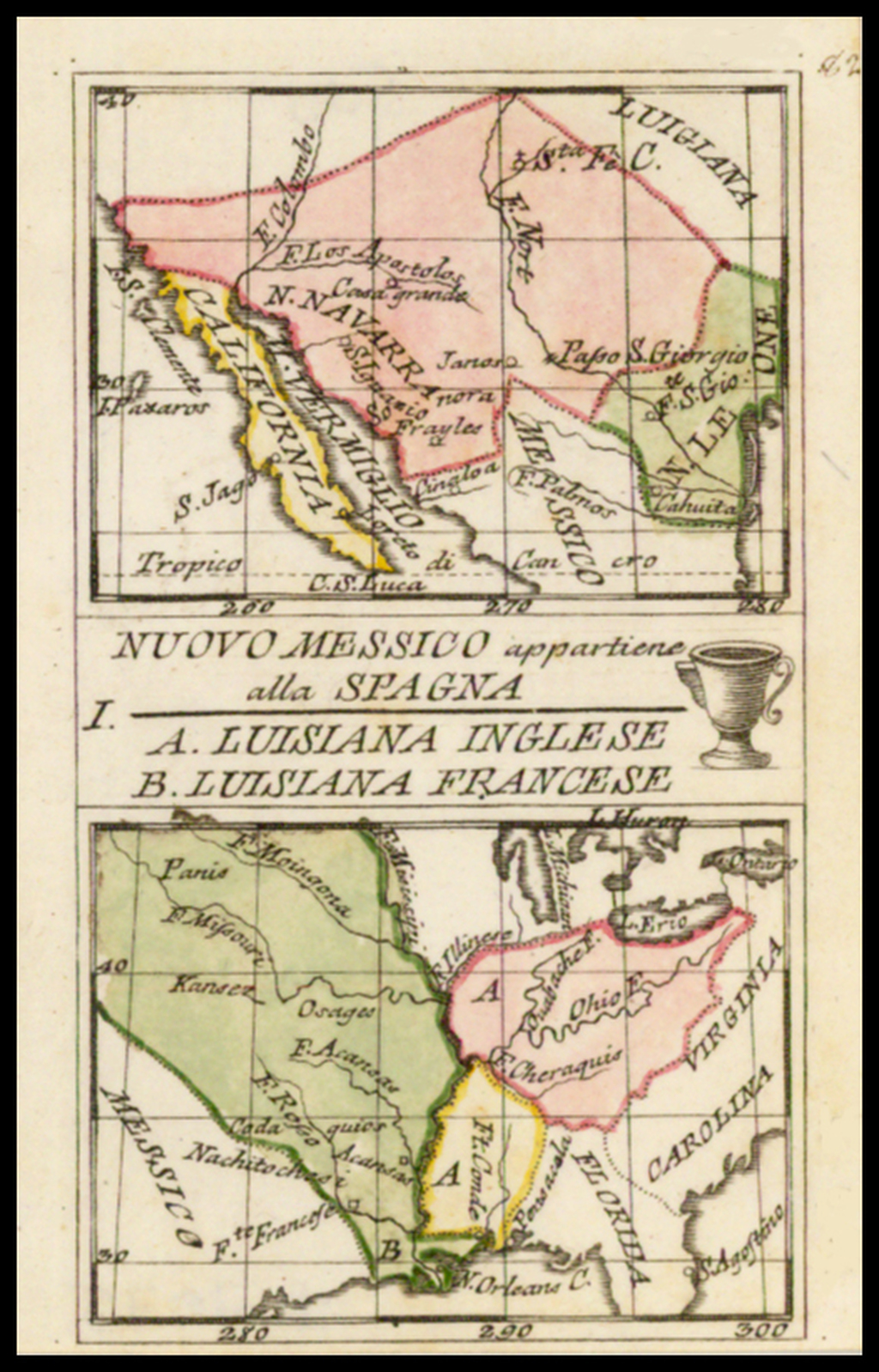 Nuovo Messico appartiene alla Spagna [with] A. Luisiana Inglese   B.  Luisiana Francese By Anonymous