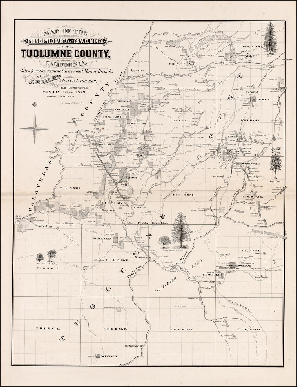 Map of the Principal Quartz and Gravel Mines in Tuolumne County California.  ….Sonora, August, 1879. By Dart / A.L. Bancroft & Co.
