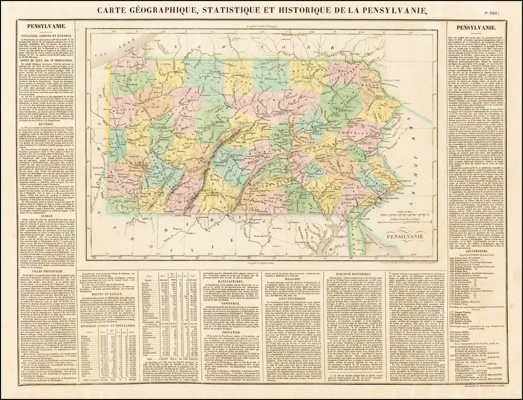 Carte Géographique, Statistique et Historique de la Pensylvanie By Jean Alexandre Buchon