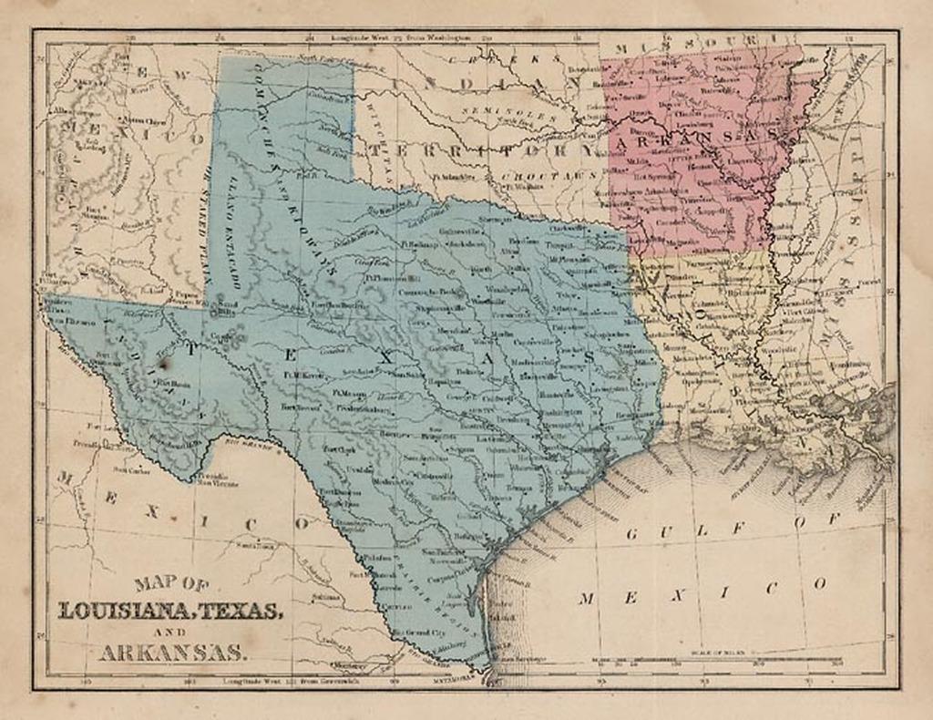 Map Of Louisiana Texas And Arkansas And Indian Territory