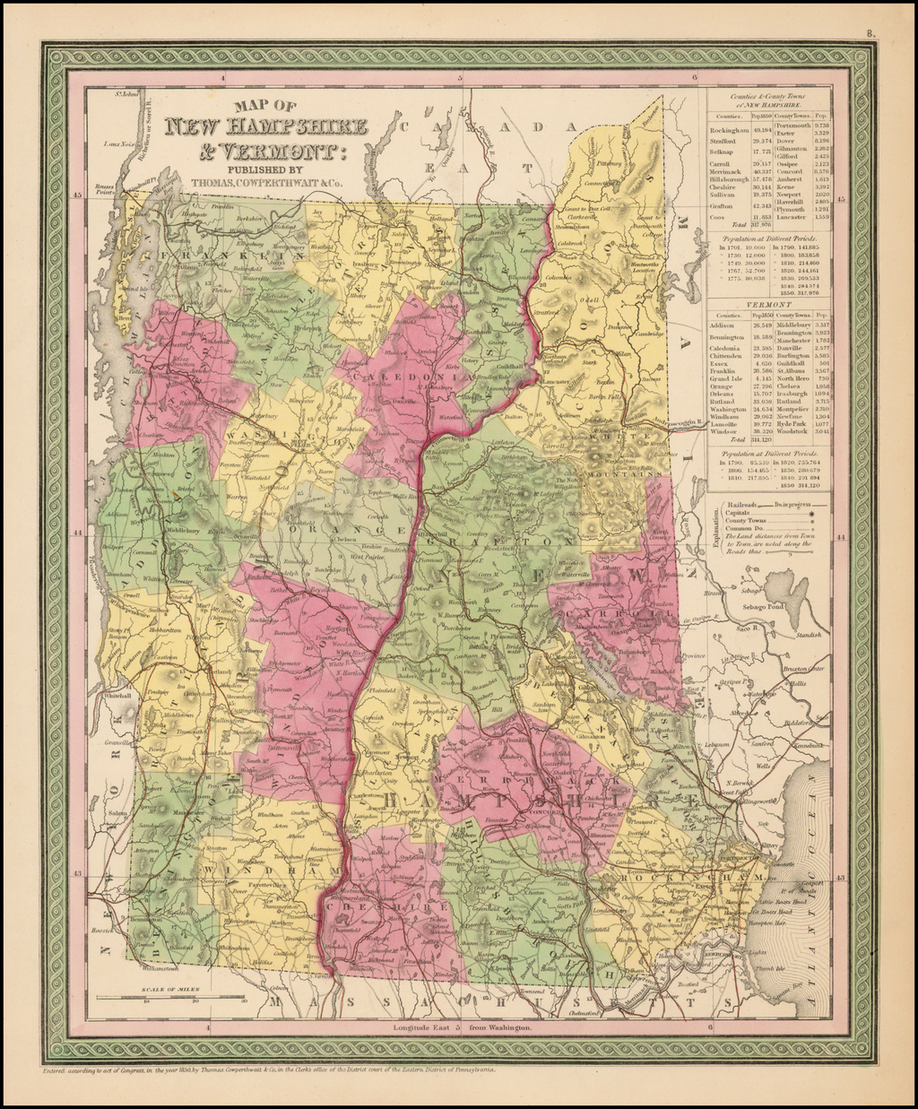 Map of New Hampshire & Vermont:  Published By Thomas Cowperthwait & Co. By Thomas, Cowperthwait & Co.