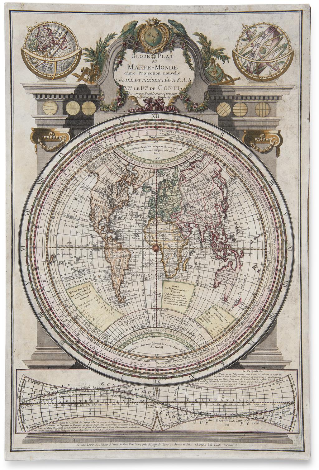Globe Plat ou Mappe-Monde d'une Projection nouvelle Dediee et Presentee a S.A.S. Le Pce. de Conte. By A. Duplessis