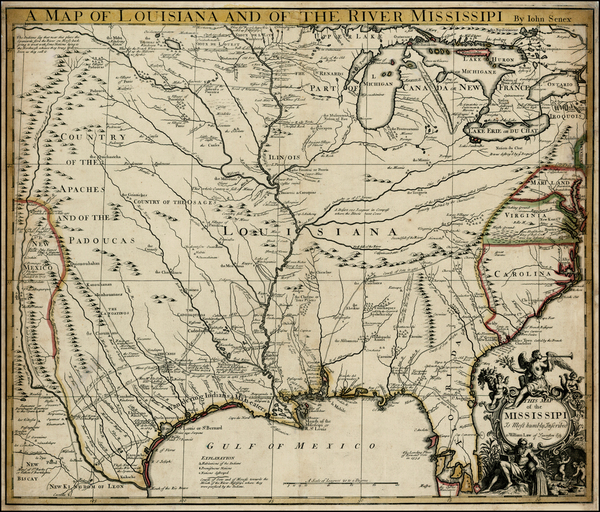 34-United States, South, Southeast, Texas, Midwest and Plains Map By John Senex