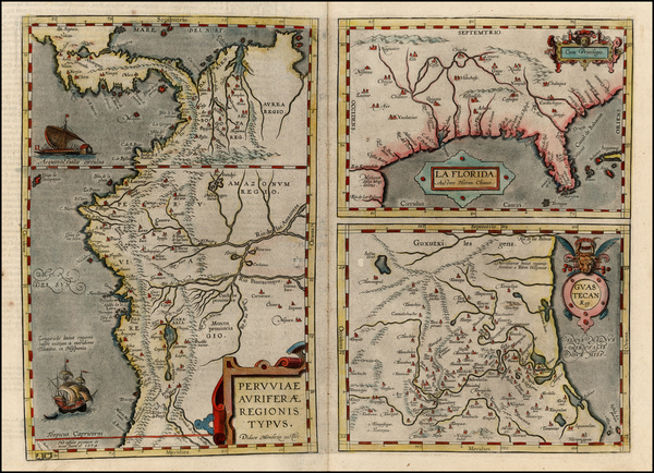 13-Florida, South, Southeast and Central America Map By Abraham Ortelius