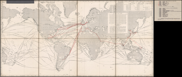 85-World and World Map By North German Lloyd Line