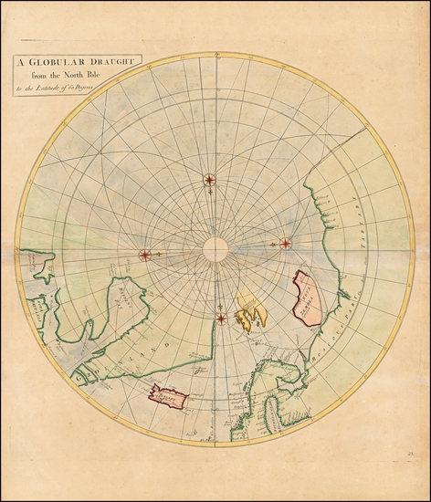 77-Northern Hemisphere and Polar Maps Map By John Senex / Edmund Halley / Nathaniel Cutler