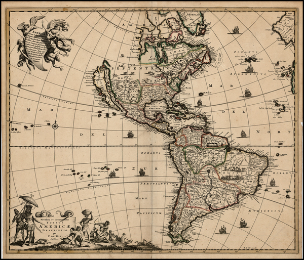 1-Western Hemisphere, South America and America Map By Frederick De Wit