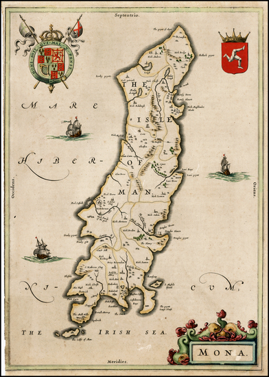 69-British Isles and British Counties Map By Willem Janszoon Blaeu