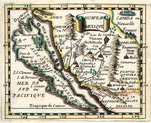 0-Southwest, Mexico, Baja California and California Map By Pierre Du Val