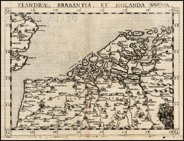 69-British Isles and Netherlands Map By Girolamo Ruscelli