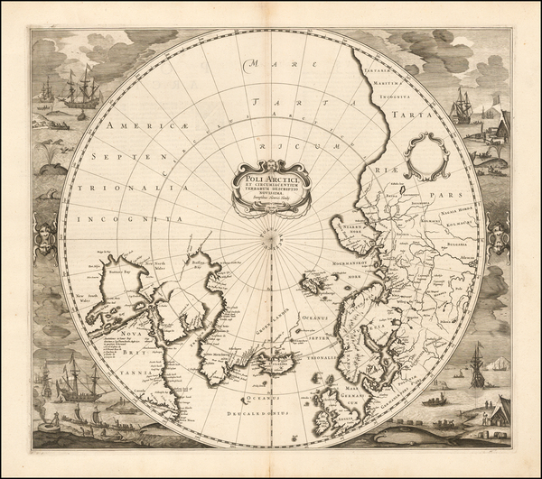 68-Polar Maps Map By Henricus Hondius