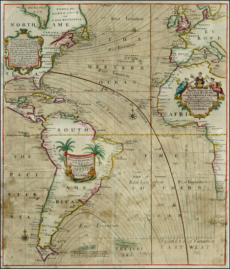 89-Atlantic Ocean, South America, Africa, Africa and America Map By Edmund Halley