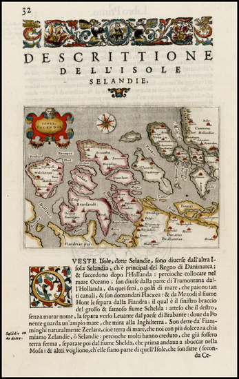 35-Netherlands Map By Tomasso Porcacchi