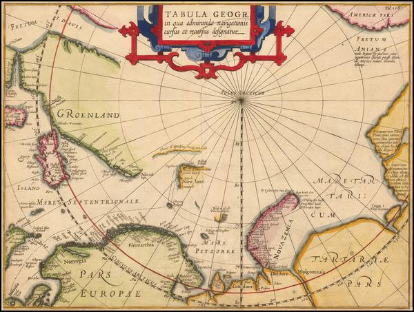76-Polar Maps, Scandinavia and Iceland Map By Jodocus Hondius