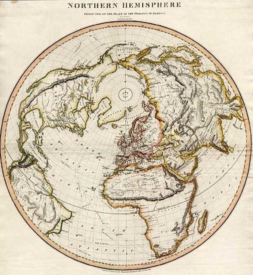 60-World, Northern Hemisphere, Polar Maps, Alaska and North America Map By John Thomson