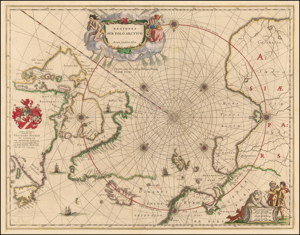 90-Polar Maps, Iceland and Canada Map By Johannes Blaeu
