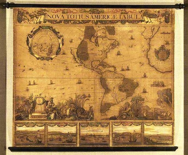 0-World, Western Hemisphere, South America, California and America Map By Peter Schenk