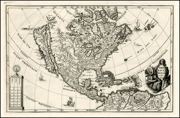 85-North America and California Map By Heinrich Scherer
