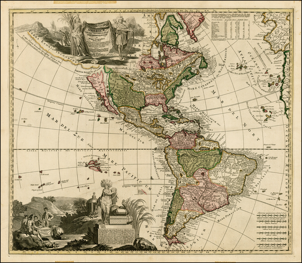 22-South America, California and America Map By Adam Friedrich Zurner