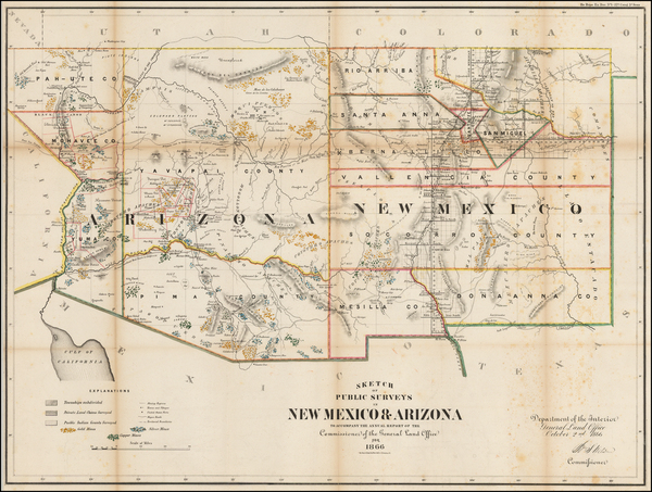 61-Arizona and New Mexico Map By U.S. General Land Office