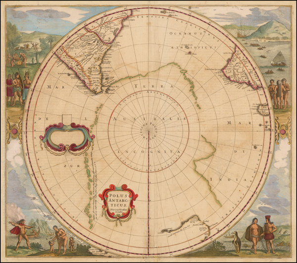 85-Polar Maps, Australia and New Zealand Map By Henricus Hondius