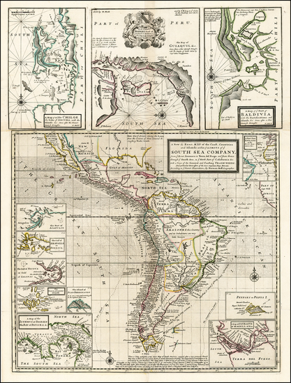 88-Central America, South America, California and America Map By Herman Moll