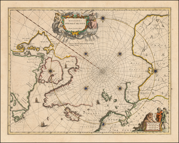 46-Polar Maps, Canada and Iceland Map By Johannes Blaeu