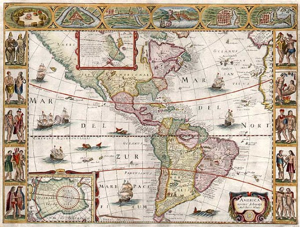 53-South America and America Map By Jodocus Hondius