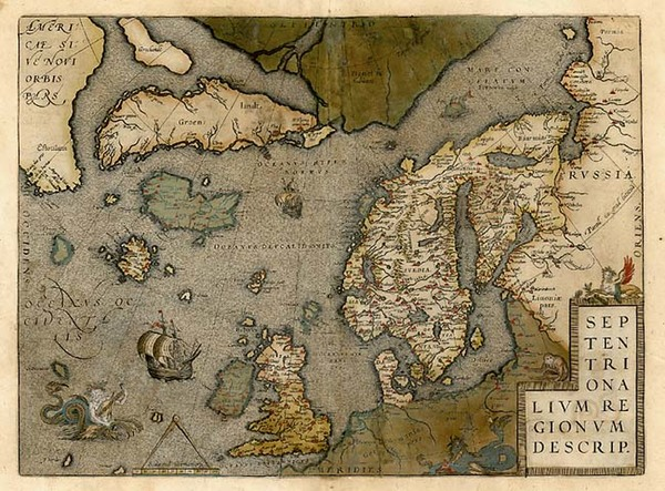 0-World, Atlantic Ocean, Europe, British Isles, Scandinavia and Balearic Islands Map By Abraham O