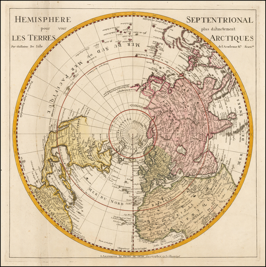 69-Northern Hemisphere, Polar Maps and Pacific Map By Hendrick De Leth / Guillaume De L'Isle